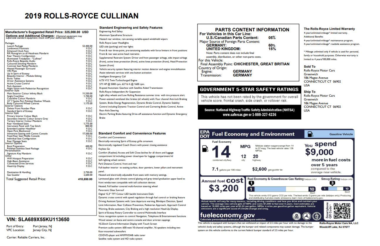 New 2019 Rolls-Royce Cullinan  For Sale In Greenwich, CT 2774_p36