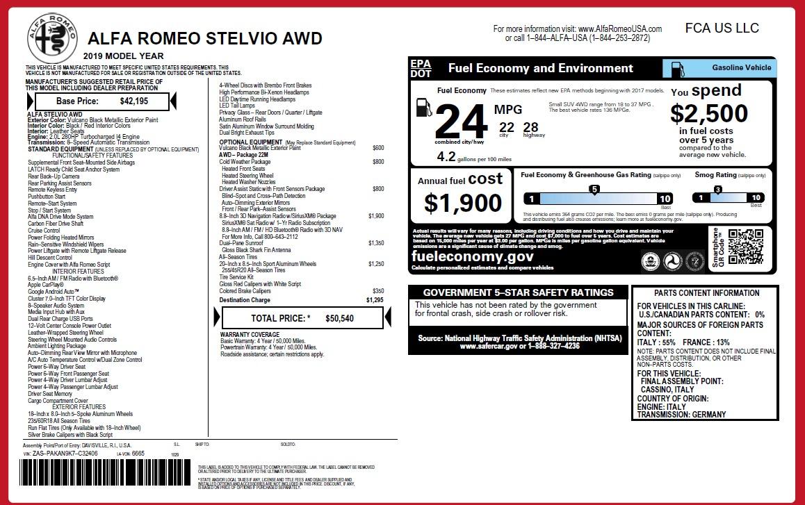 New 2019 Alfa Romeo Stelvio Q4 For Sale In Greenwich, CT 2813_p2