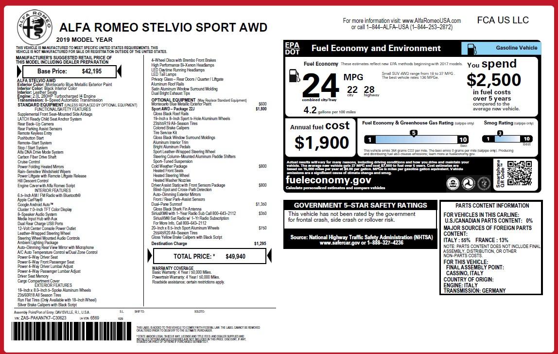 New 2019 Alfa Romeo Stelvio Sport Q4 For Sale In Greenwich, CT 2815_p31