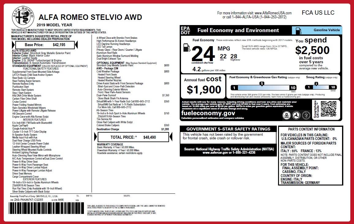 New 2019 Alfa Romeo Stelvio Q4 For Sale In Greenwich, CT 2816_p2
