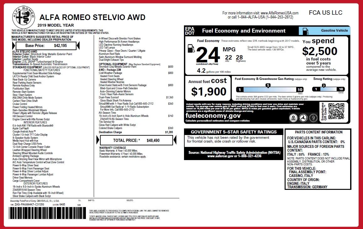 New 2019 Alfa Romeo Stelvio Q4 For Sale In Greenwich, CT 2817_p2