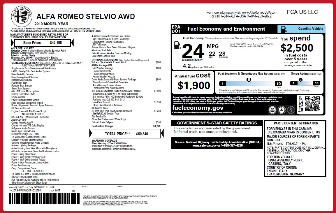 New 2019 Alfa Romeo Stelvio Q4 For Sale In Greenwich, CT 2818_p21