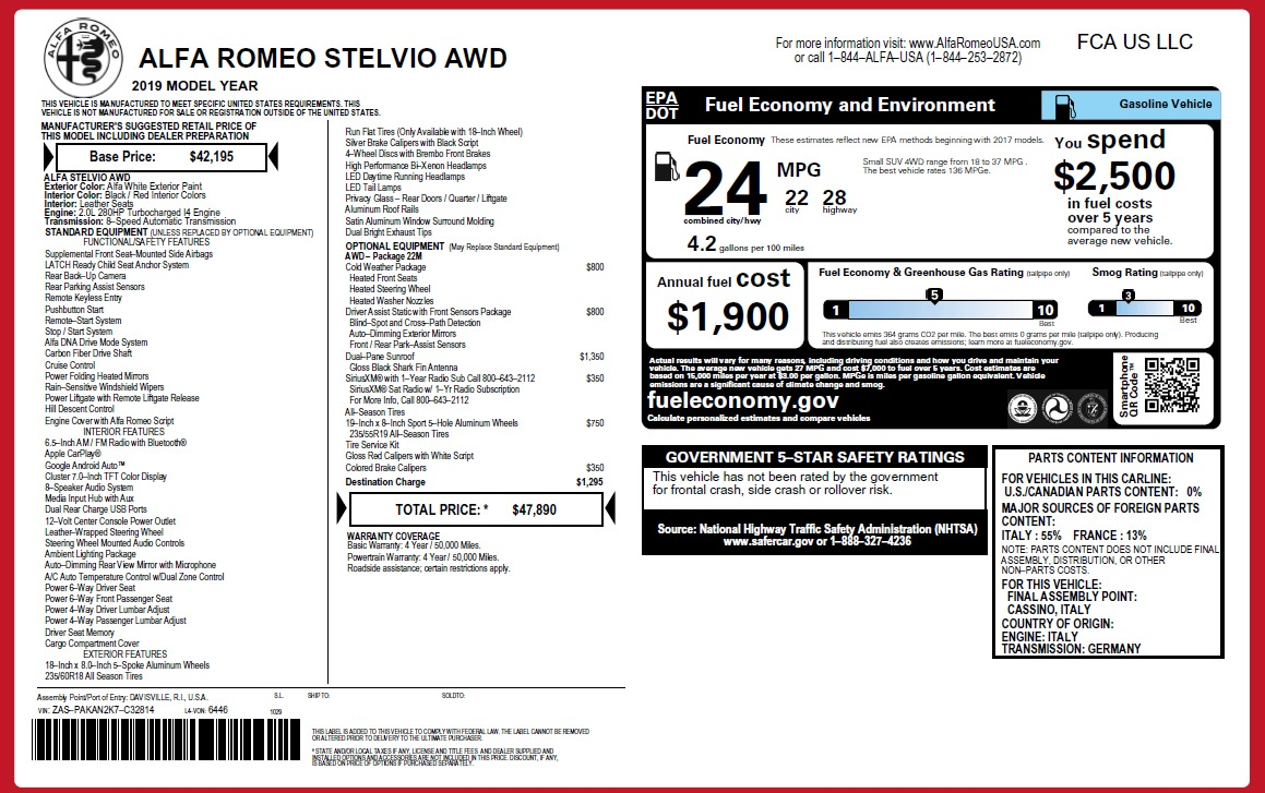 New 2019 Alfa Romeo Stelvio Q4 For Sale In Greenwich, CT 2819_p20