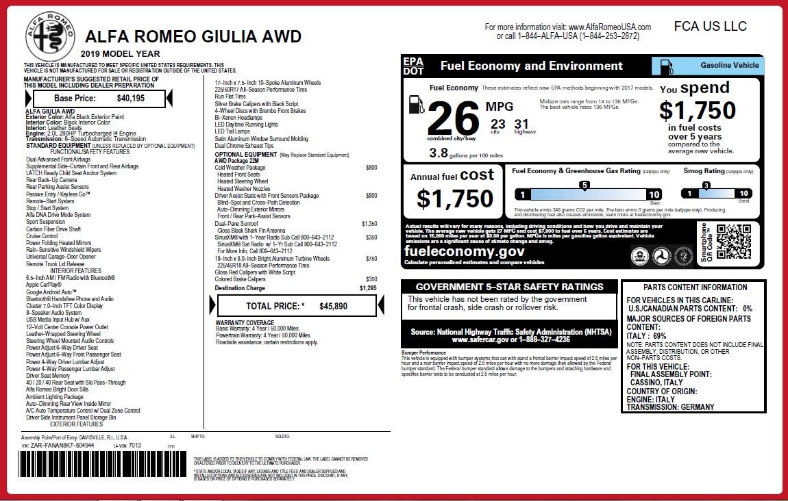New 2019 Alfa Romeo Giulia Q4 For Sale In Greenwich, CT 2820_p23