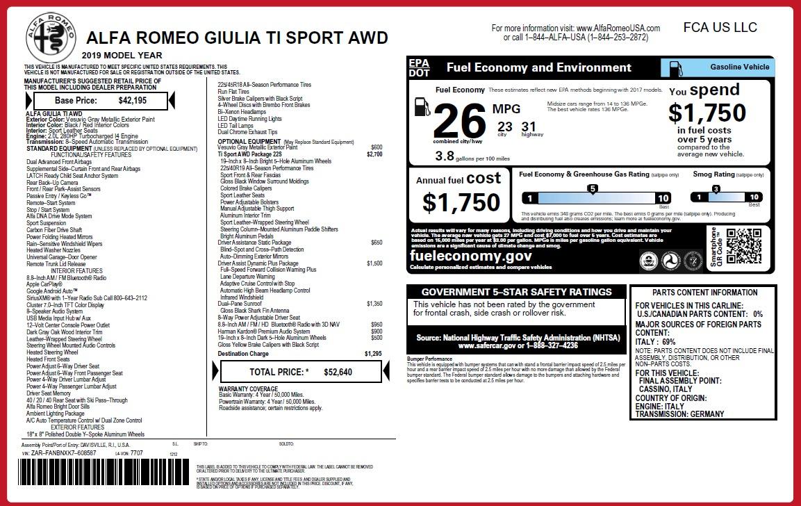New 2019 Alfa Romeo Giulia Ti Sport Q4 For Sale In Greenwich, CT 2838_p26