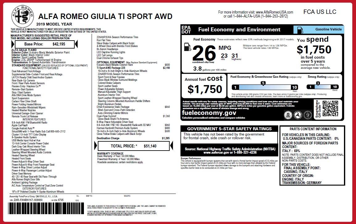 New 2019 Alfa Romeo Giulia Ti Sport Q4 For Sale In Greenwich, CT 2840_p26