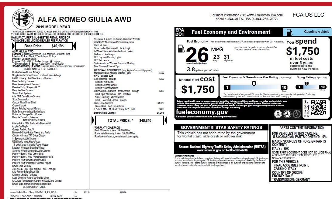 New 2019 Alfa Romeo Giulia Q4 For Sale In Greenwich, CT 2850_p26