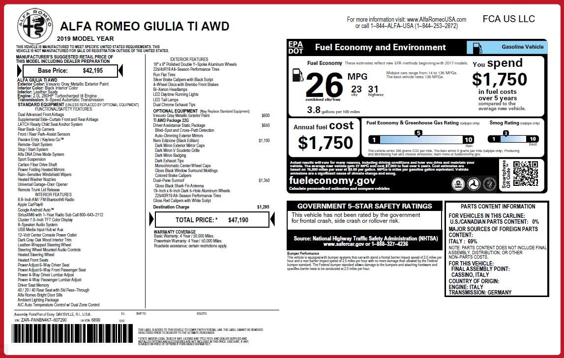 New 2019 Alfa Romeo Giulia Ti Q4 For Sale In Greenwich, CT 2855_p2