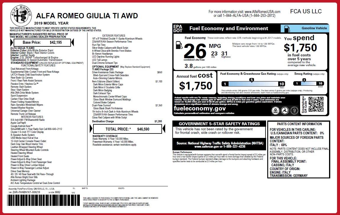 New 2019 Alfa Romeo Giulia Ti Q4 For Sale In Greenwich, CT 2856_p2