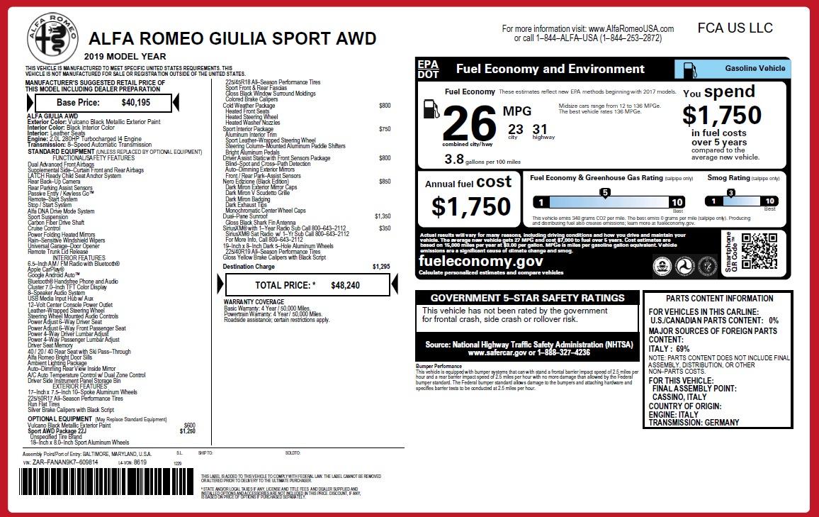 New 2019 Alfa Romeo Giulia Sport Q4 For Sale In Greenwich, CT 2891_p24
