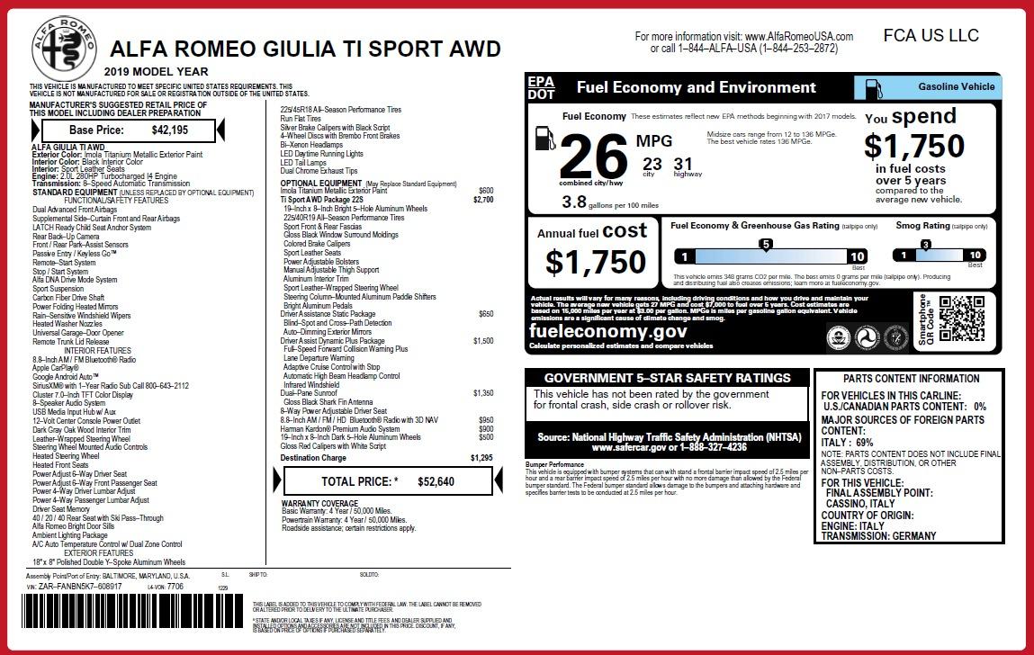 New 2019 Alfa Romeo Giulia Ti Sport Q4 For Sale In Greenwich, CT 2895_p2