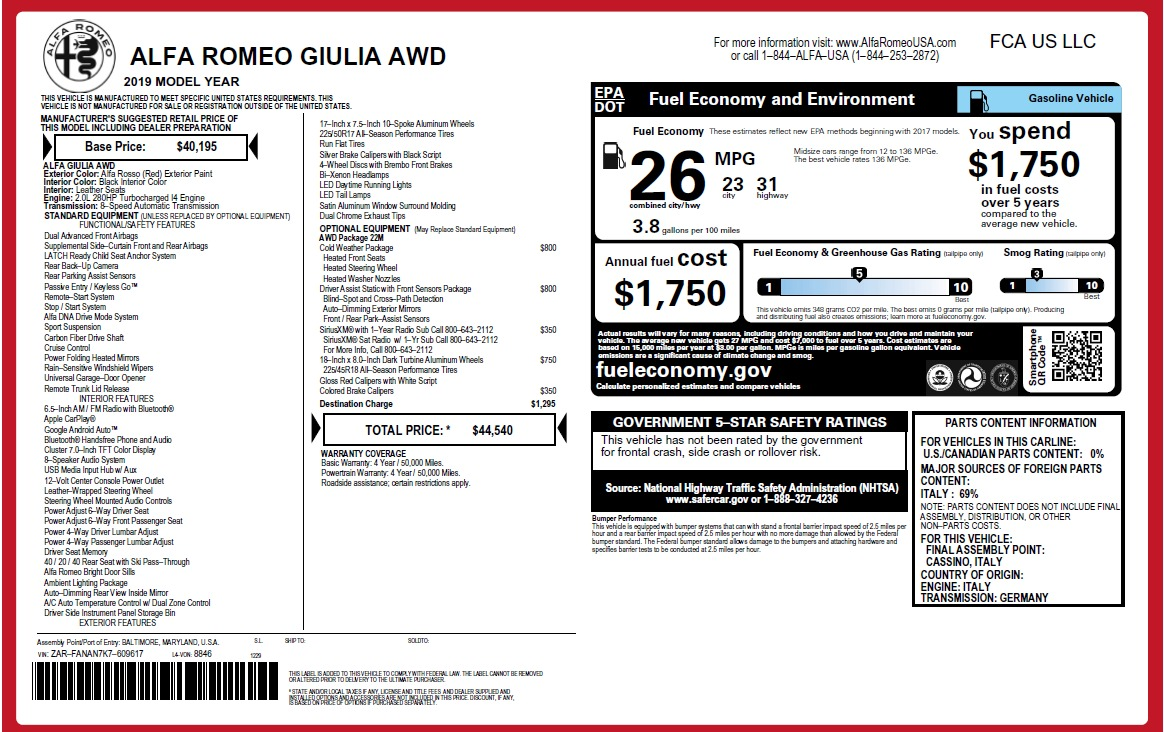 New 2019 Alfa Romeo Giulia Q4 For Sale In Greenwich, CT 2906_p20