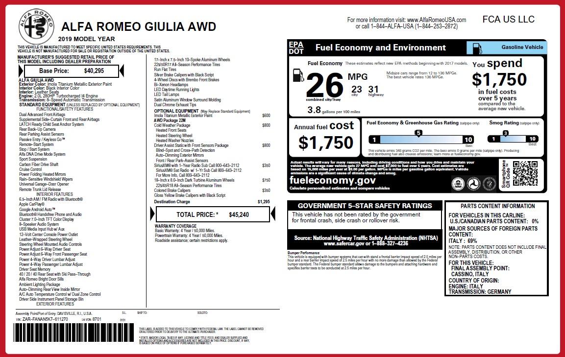 New 2019 Alfa Romeo Giulia Q4 For Sale In Greenwich, CT 2947_p21