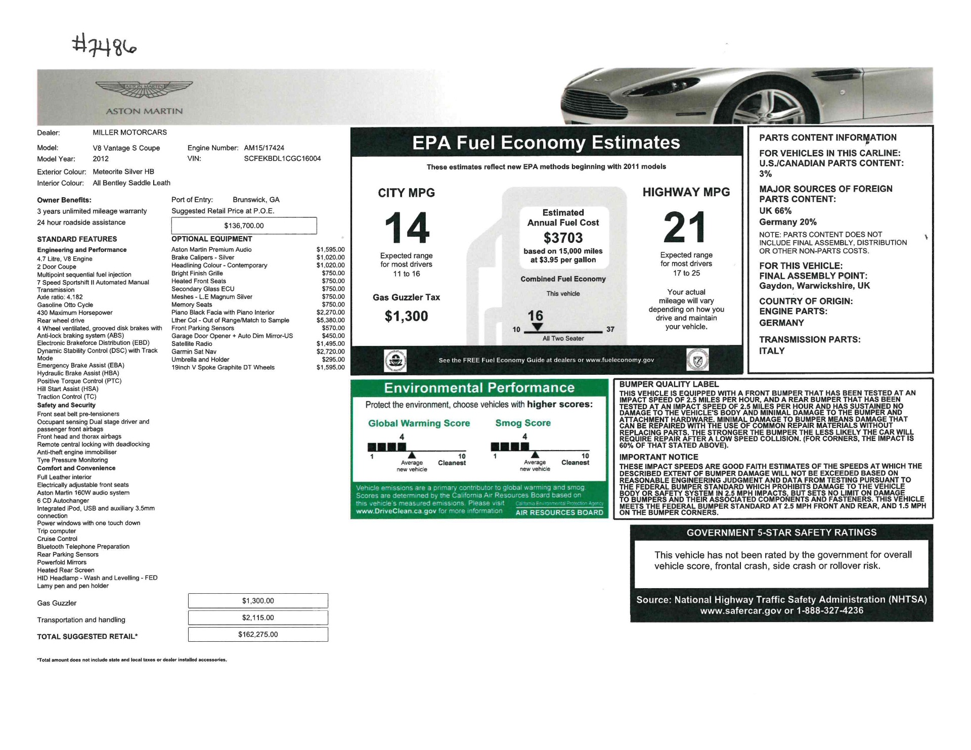 Used 2012 Aston Martin V8 Vantage S Coupe For Sale In Greenwich, CT 2951_p21
