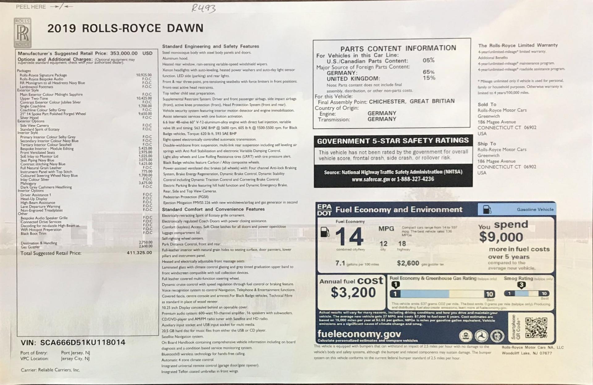 New 2019 Rolls-Royce Dawn  For Sale In Greenwich, CT 2974_p43