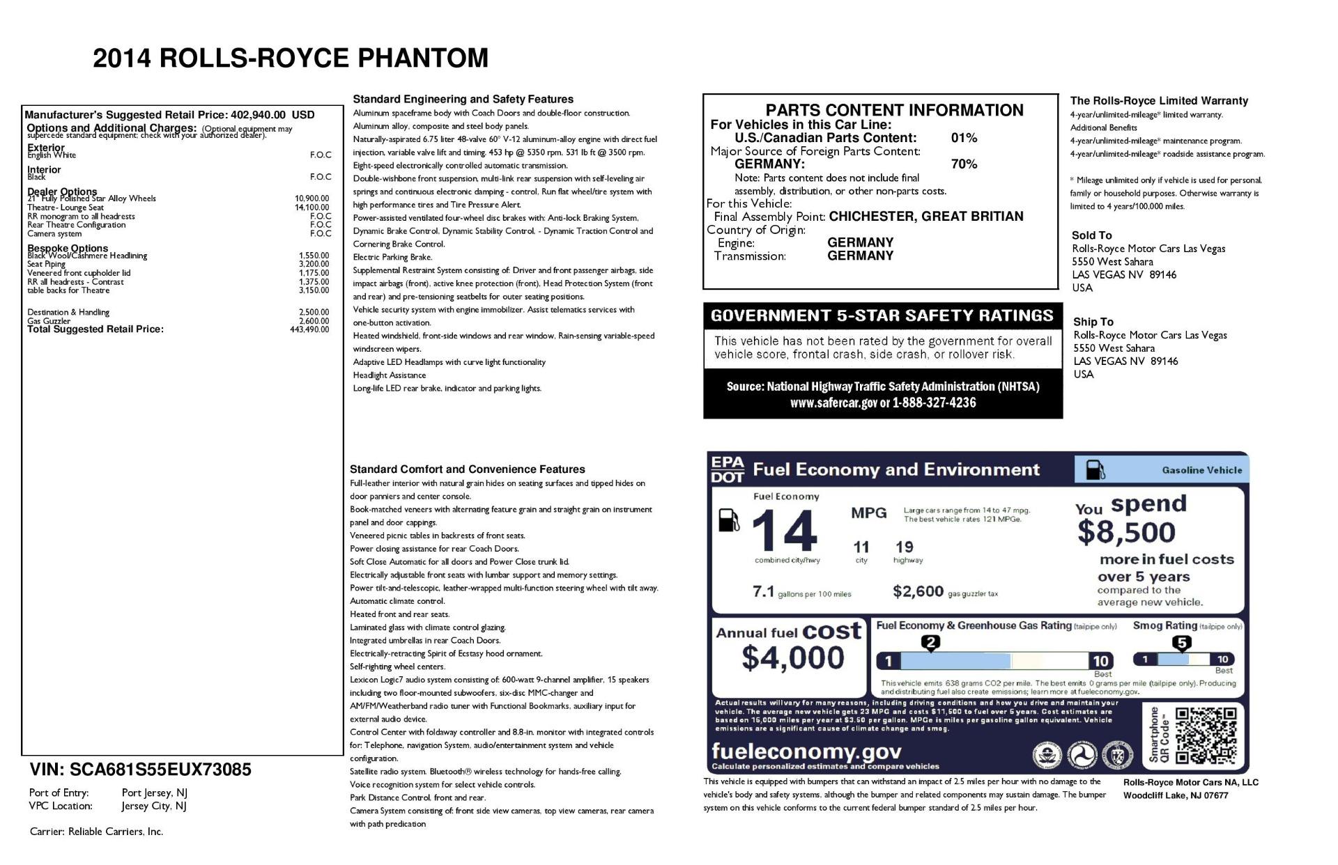 Used 2014 Rolls-Royce Phantom  For Sale In Greenwich, CT 2998_p31