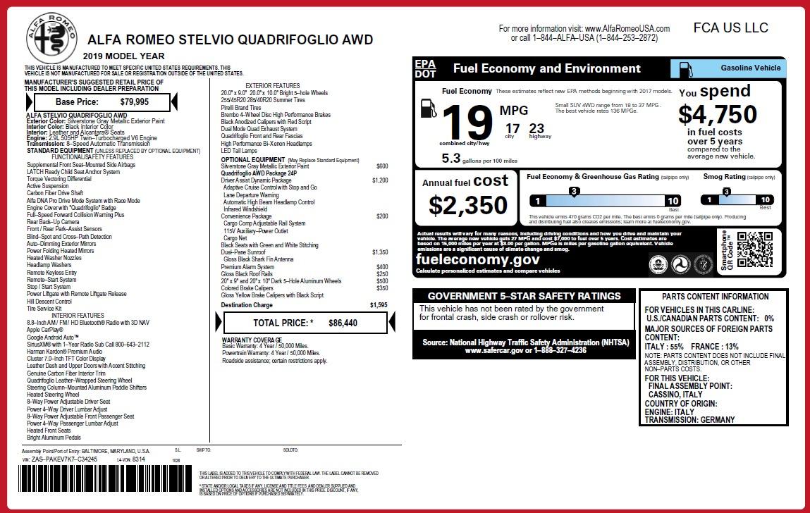New 2019 Alfa Romeo Stelvio Quadrifoglio For Sale In Greenwich, CT 3037_p36