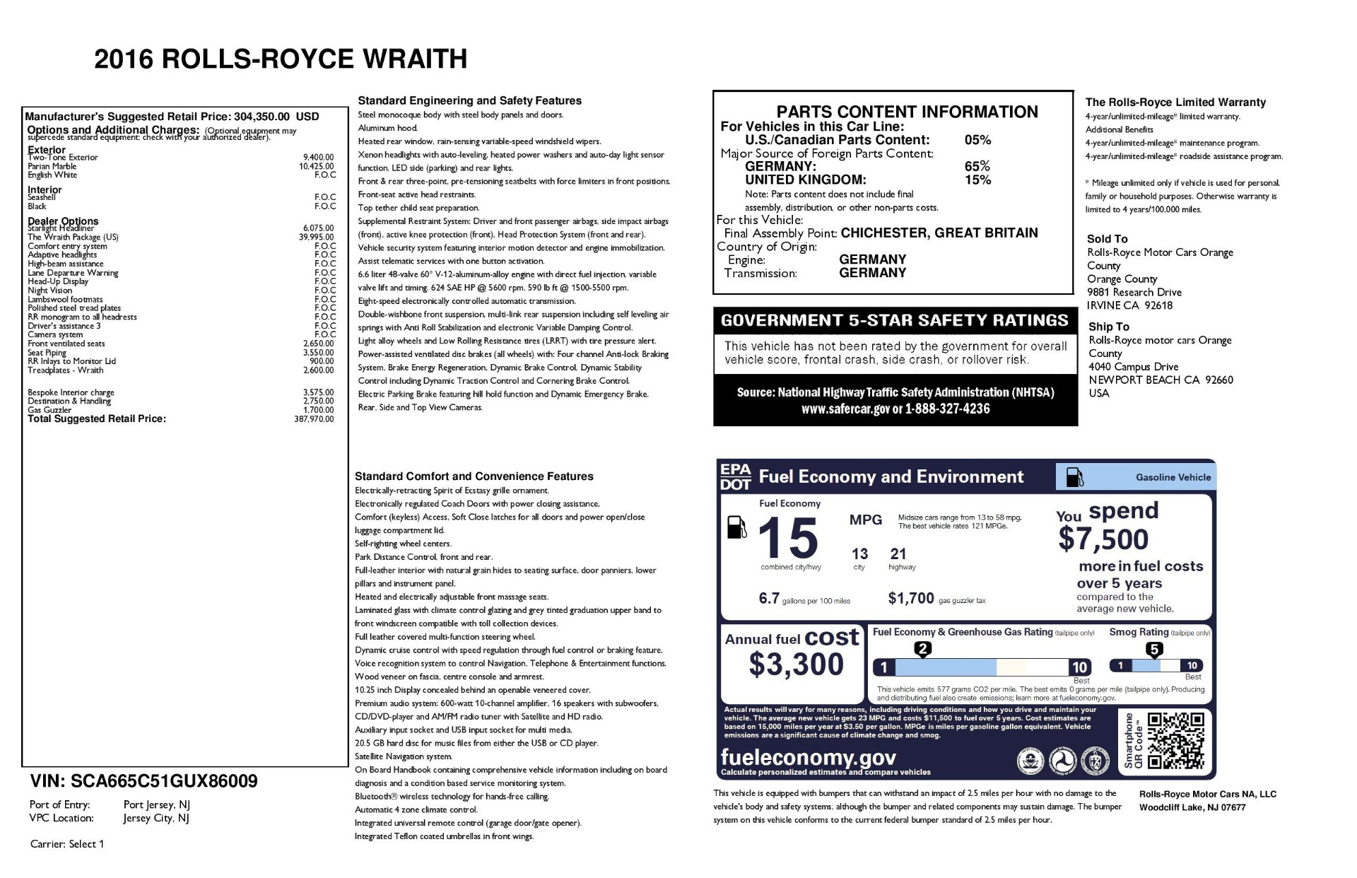 Used 2016 Rolls-Royce Wraith  For Sale In Greenwich, CT 3043_p44