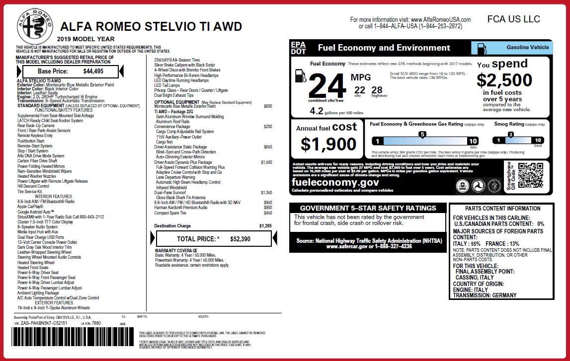 New 2019 Alfa Romeo Stelvio Ti Q4 For Sale In Greenwich, CT 3067_p2