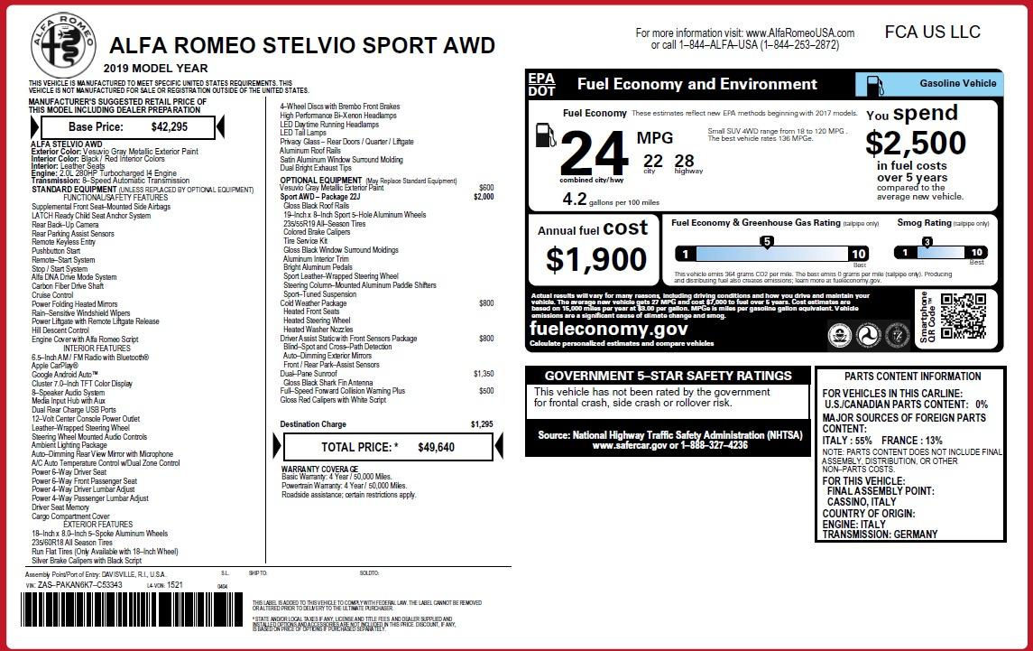 New 2019 Alfa Romeo Stelvio Sport Q4 For Sale In Greenwich, CT 3075_p31