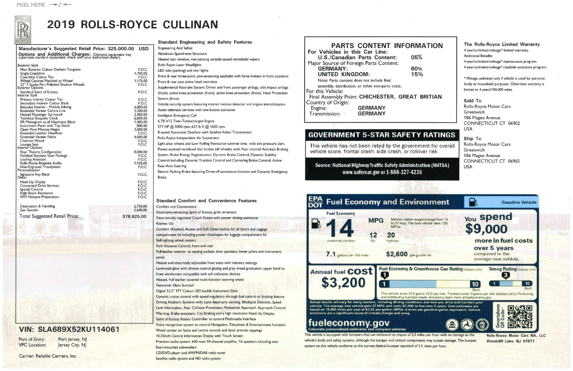 Used 2019 Rolls-Royce Cullinan  For Sale In Greenwich, CT 3162_p44