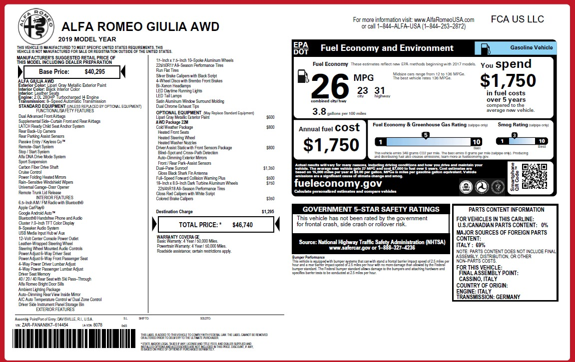 New 2019 Alfa Romeo Giulia Q4 For Sale In Greenwich, CT 3174_p31