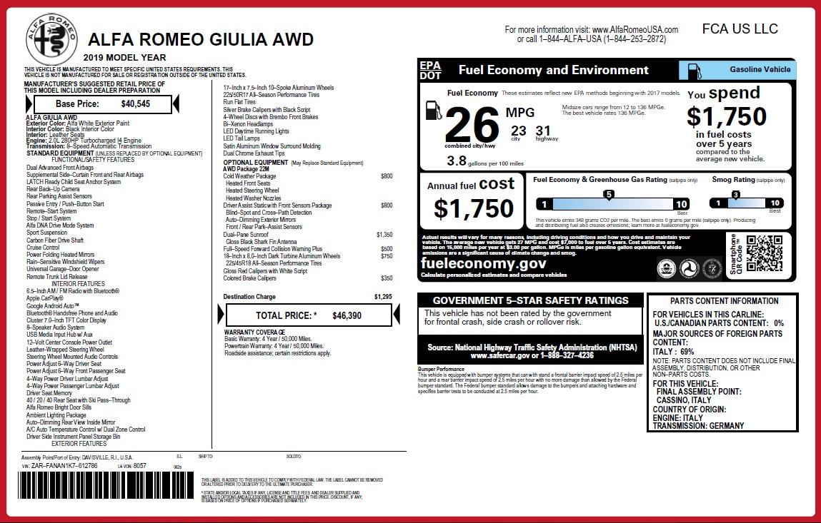 New 2019 Alfa Romeo Giulia Q4 For Sale In Greenwich, CT 3278_p31
