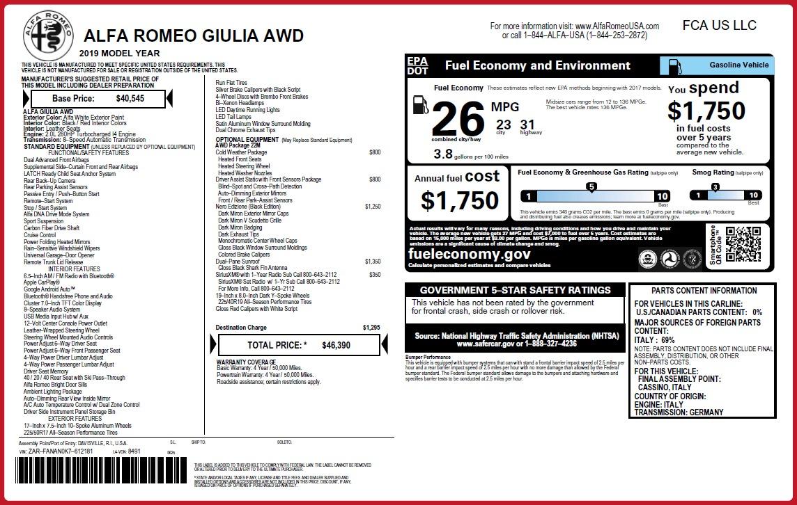 New 2019 Alfa Romeo Giulia Q4 For Sale In Greenwich, CT 3279_p31