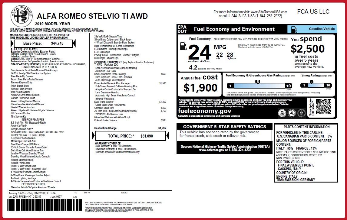 New 2019 Alfa Romeo Stelvio Ti Q4 For Sale In Greenwich, CT 3324_p2