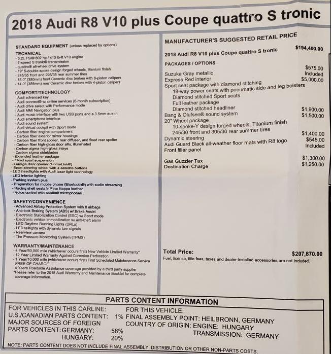 Used 2018 Audi R8 5.2 quattro V10 Plus For Sale In Greenwich, CT 3360_p27