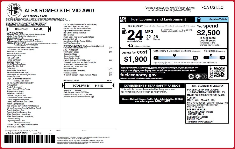 New 2019 Alfa Romeo Stelvio Q4 For Sale In Greenwich, CT 3366_p2