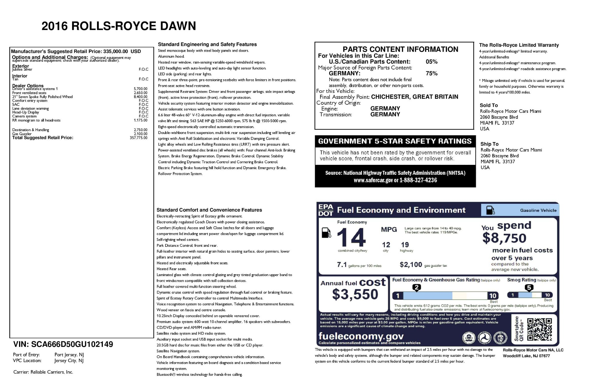 Used 2016 Rolls-Royce Dawn  For Sale In Greenwich, CT 3373_p41