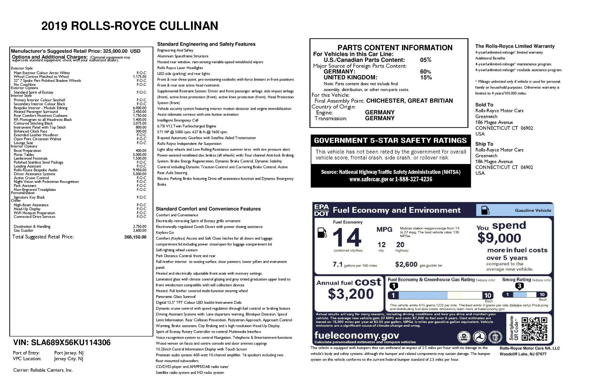 New 2019 Rolls-Royce Cullinan  For Sale In Greenwich, CT 3377_p36