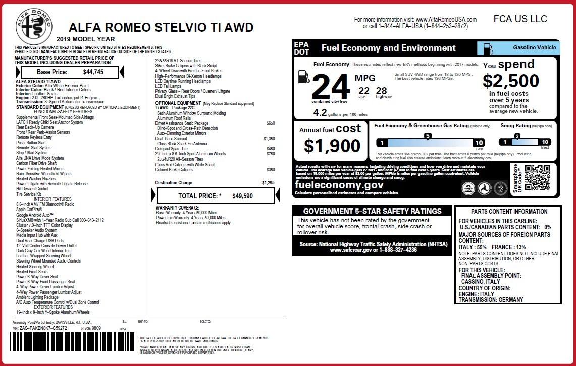 New 2019 Alfa Romeo Stelvio Ti Q4 For Sale In Greenwich, CT 3438_p31