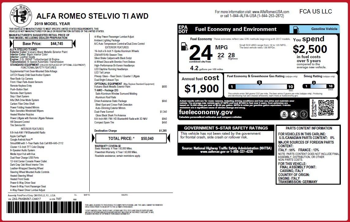 New 2019 Alfa Romeo Stelvio Ti Q4 For Sale In Greenwich, CT 3439_p31