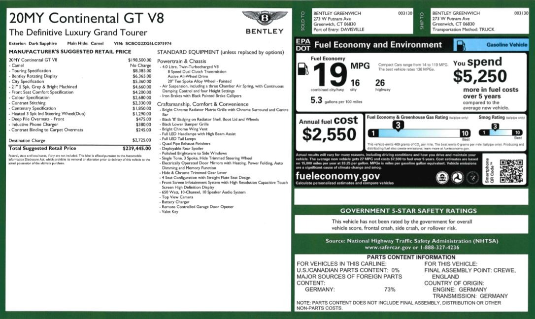 New 2020 Bentley Continental GT V8 For Sale In Greenwich, CT 3456_p31