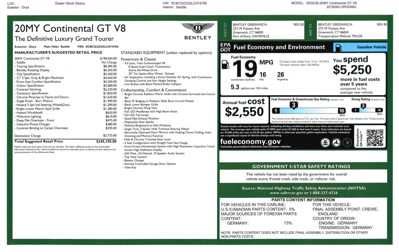 New 2020 Bentley Continental GT V8 For Sale In Greenwich, CT 3460_p29