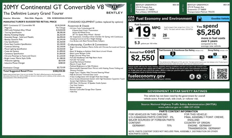 New 2020 Bentley Continental GTC V8 For Sale In Greenwich, CT 3472_p37