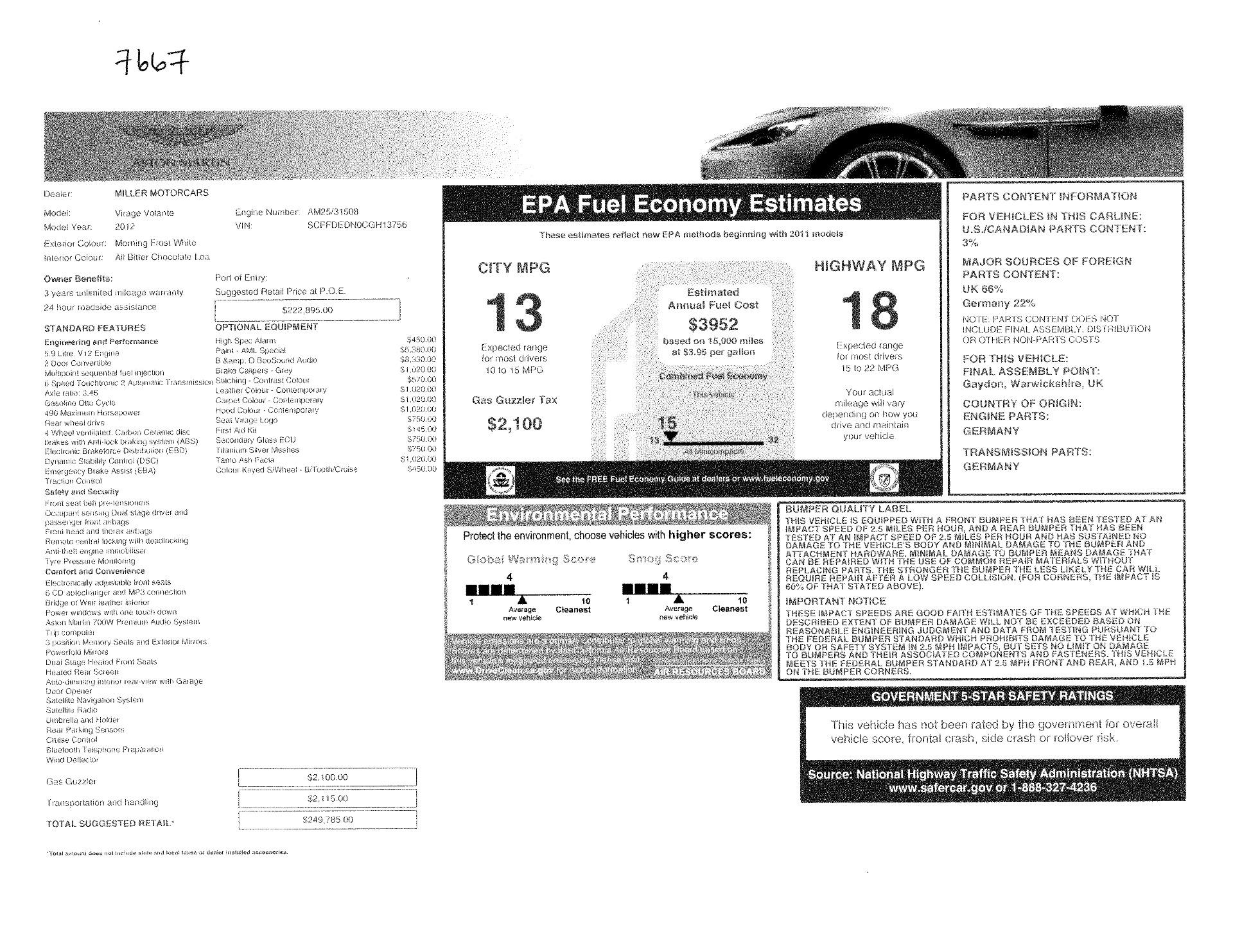 Used 2012 Aston Martin Virage Volante For Sale In Greenwich, CT 3515_p29