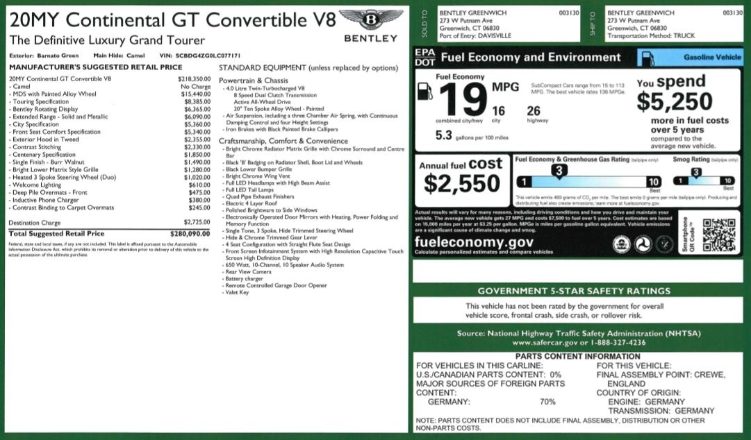 New 2020 Bentley Continental GTC V8 For Sale In Greenwich, CT 3572_p40