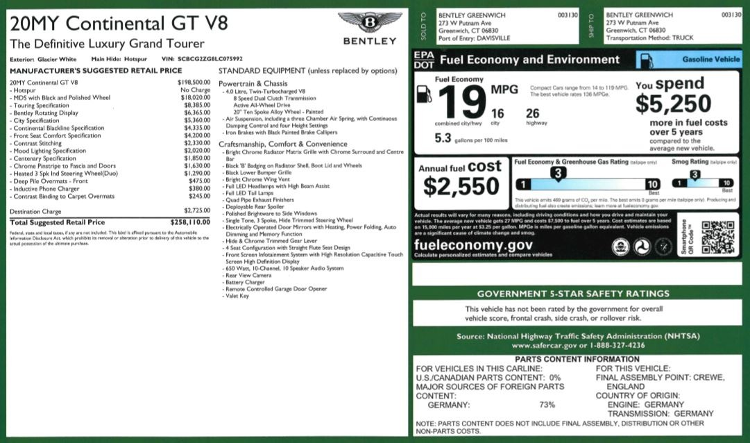 New 2020 Bentley Continental GT V8 For Sale In Greenwich, CT 3590_p36