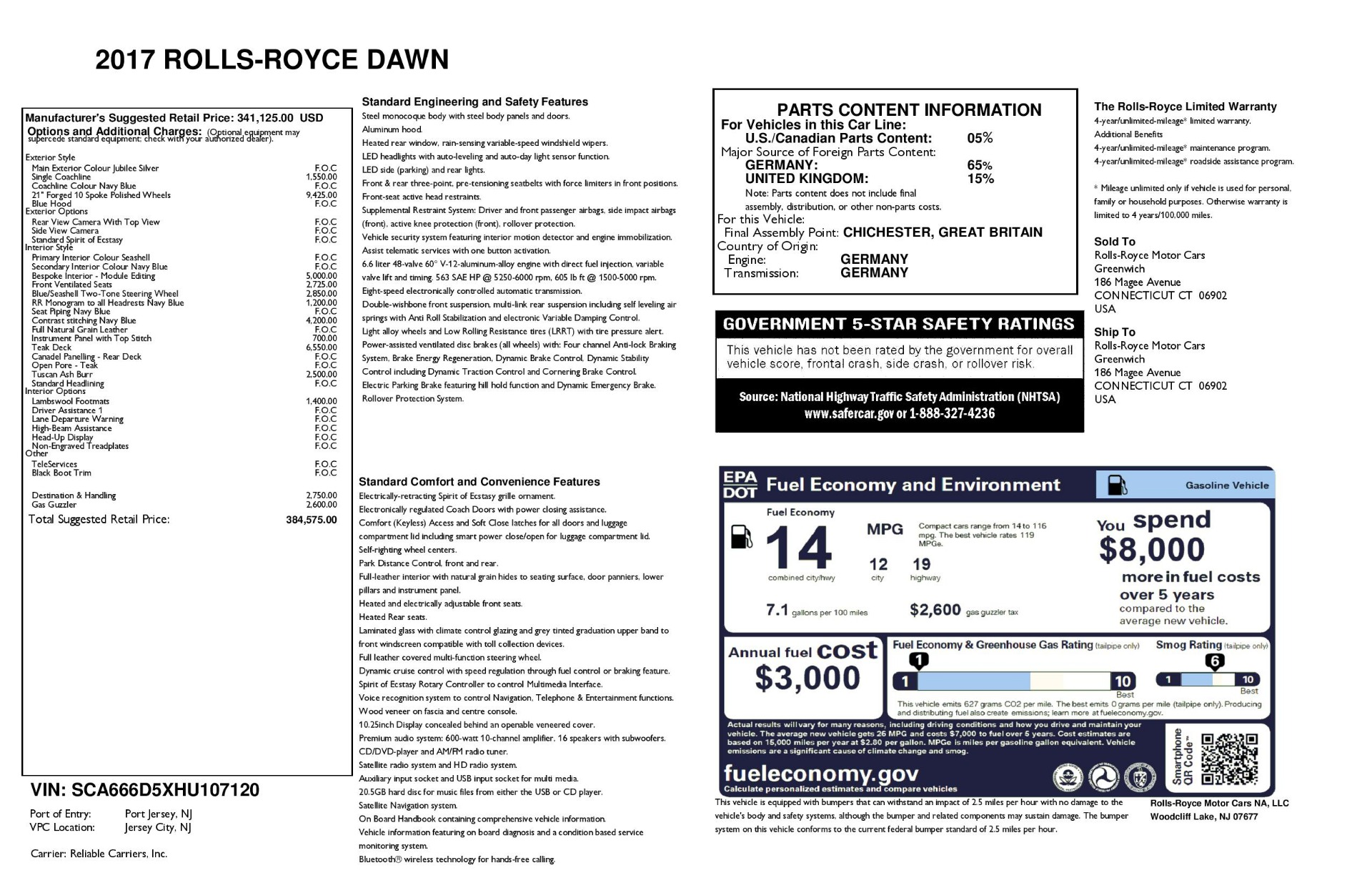 Used 2017 Rolls-Royce Dawn  For Sale In Greenwich, CT 940_p39