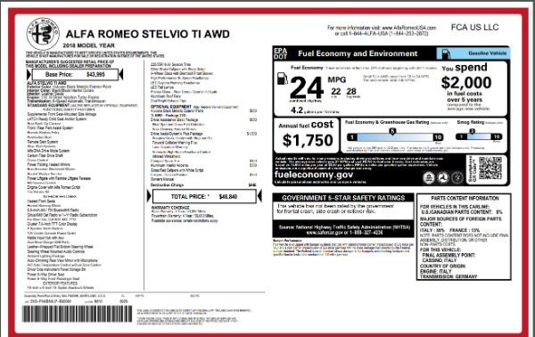 New 2018 Alfa Romeo Stelvio Ti Q4 for sale Sold at Bentley Greenwich in Greenwich CT 06830 27