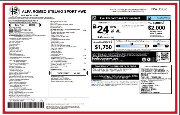 New 2018 Alfa Romeo Stelvio Sport Q4 for sale Sold at Bentley Greenwich in Greenwich CT 06830 26
