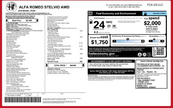 New 2018 Alfa Romeo Stelvio Q4 for sale Sold at Bentley Greenwich in Greenwich CT 06830 26
