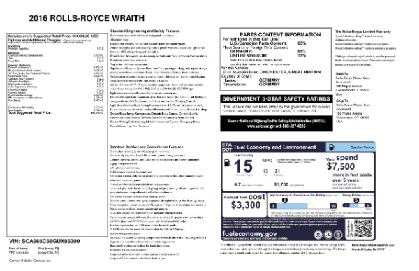 Used 2016 Rolls-Royce Wraith for sale Sold at Bentley Greenwich in Greenwich CT 06830 24