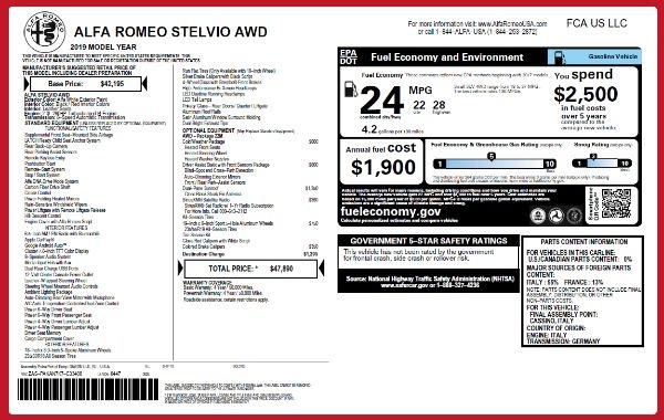 New 2019 Alfa Romeo Stelvio Q4 for sale Sold at Bentley Greenwich in Greenwich CT 06830 21