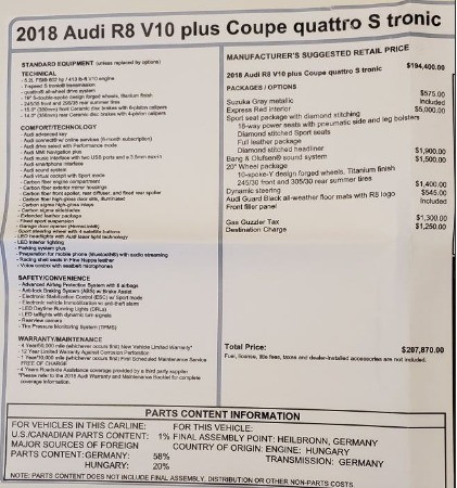 Used 2018 Audi R8 5.2 quattro V10 Plus for sale Sold at Bentley Greenwich in Greenwich CT 06830 27