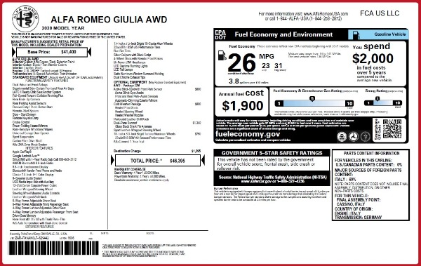 Used 2020 Alfa Romeo Giulia Q4 for sale Sold at Bentley Greenwich in Greenwich CT 06830 24