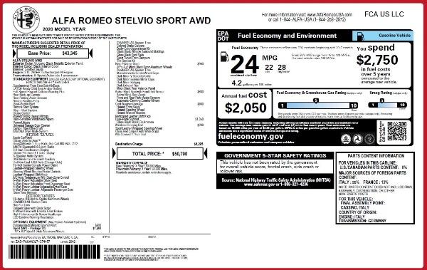 New 2020 Alfa Romeo Stelvio Sport Q4 for sale $50,790 at Bentley Greenwich in Greenwich CT 06830 2